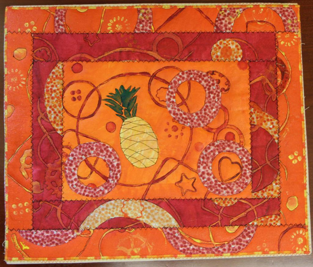 Pineapple on Orange with red and orange borders
