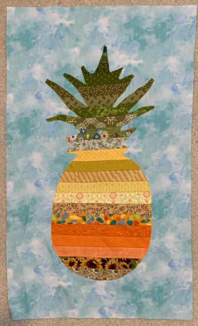Pieced Pineapple, appliqued to background, work in progress